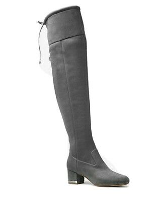 Michael Kors Jamie Over-The-Knee Stretch Suede Boots Silver Chain sz 11 new