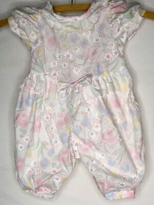 Vintage Baby Dior Girls Sz 3 Months Pink Muted Multicolor Floral Romper Outfit