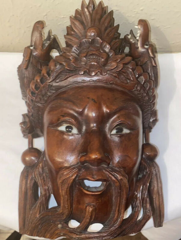 Chinese Wooden Mask With Two Dragons With Teeth~Hand Carved-rare
