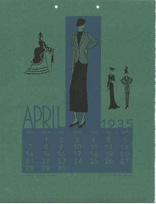 VINTAGE 1930S ART DECO FASHION DESIGN APRIL SCARCE CALENDAR MSA BOSTON ART PRINT