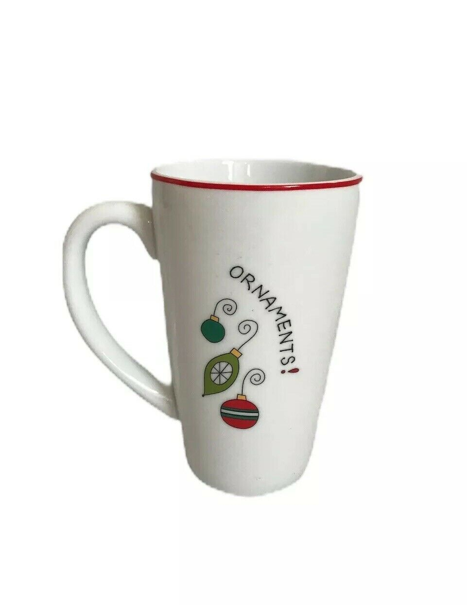 "FITZ AND FLOYD Gourmet Christmas Coffee Cup ""Ornaments"" Happy Holiday"