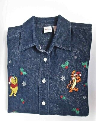 Disney Winnie The Pooh Christmas Glitter Denim Shirt Women's Med Button Front