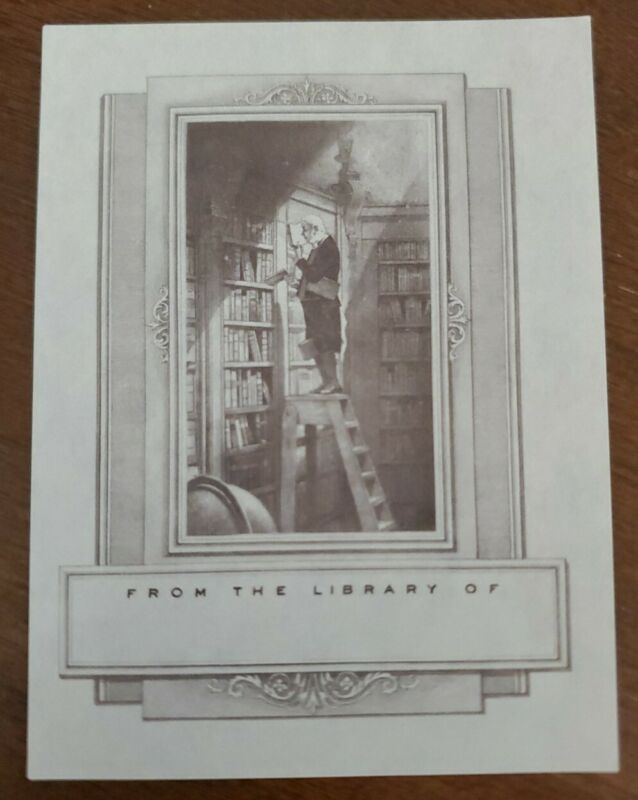 """Vintage Antioch Bookplate, """"The Bookworm"""", man on ladder in library"""