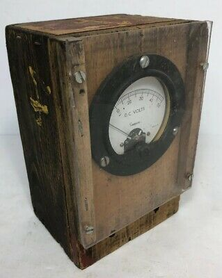 Simpson D. C. Volt Meter In Home Made Wood Box 0-50 Folk Art
