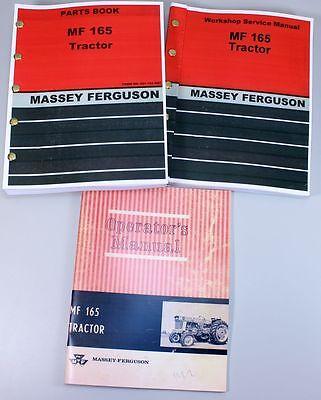 Set Massey Ferguson 165 Tractor Service Repair Owners Operators Parts Manuals