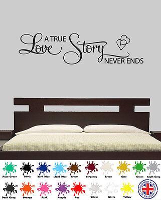 A True Love Story Never Ends Wall Sticker - Wall Art Quote, Vinyl, Decal  - A True Love Story Never Ends