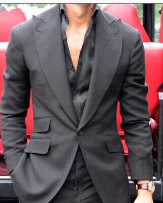 Dark Grey Mens Suits Big Lapel Business Office Suit Best Wedding Party