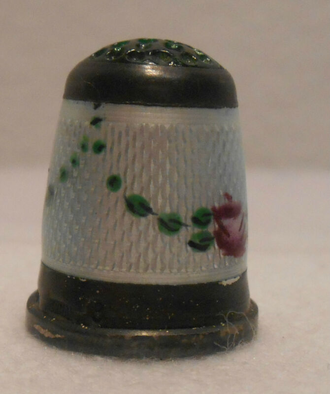 Antique~Sterling Silver Thimble Guilloche Enamel Flowers Green Top Germany 1900s