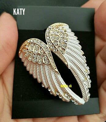 Vintage Style Diamante Angel Wings Gold White Clear Crystal BROOCH Pin Broach