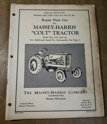 Massey Harris Colt Tractor Repair Parts List 1j-2478-y15