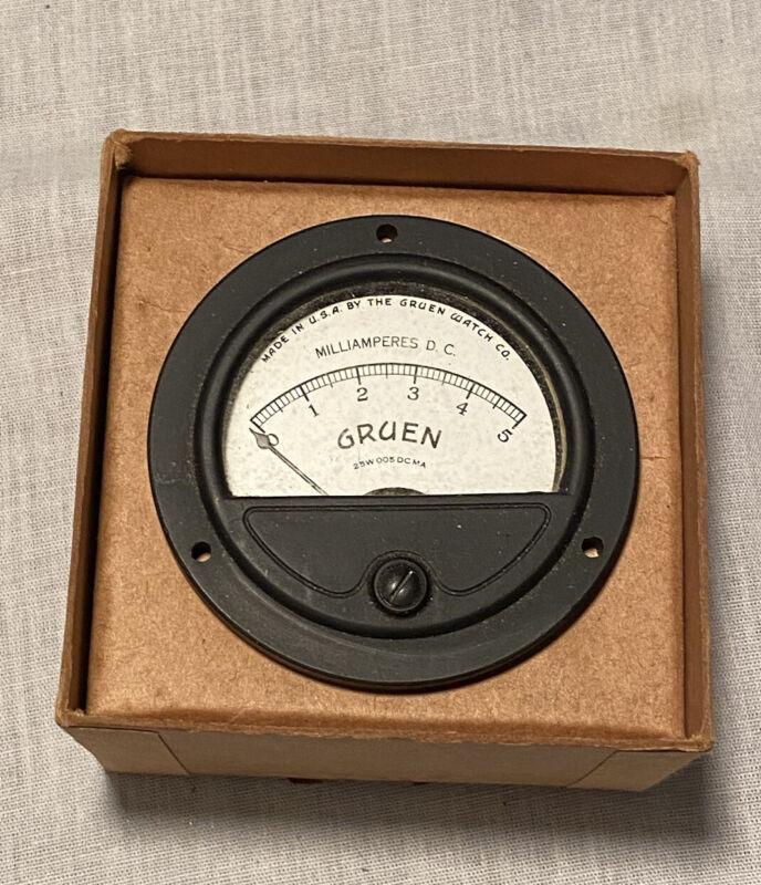 Vintage Gruen Watch Company Ammeter Aircraft Instrument Gauge Steam Punk