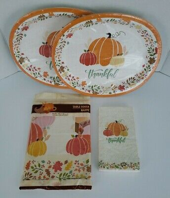 Thanksgiving Pumpkin Fall Plates Napkins Table Cloth Cover Party Supplies 27 Pc