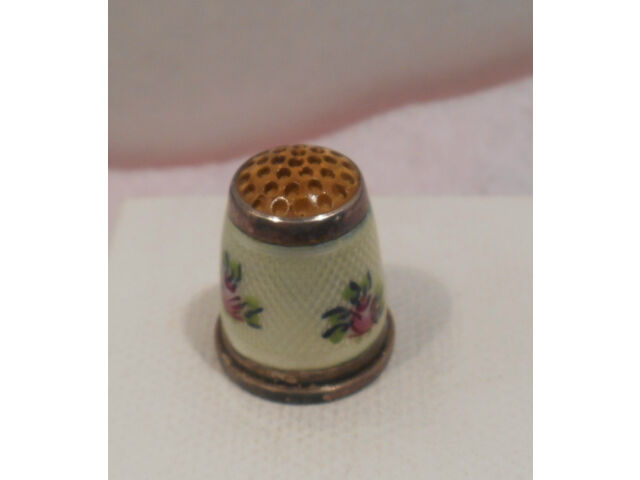 Antique Sterling Silver Enamel Flower Amber Top Thimble Germany, Circa *1900s