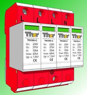 Blitz- Überspannungsschutz, Kombiableiter 4-polig, Klasse 1+2, 60kA