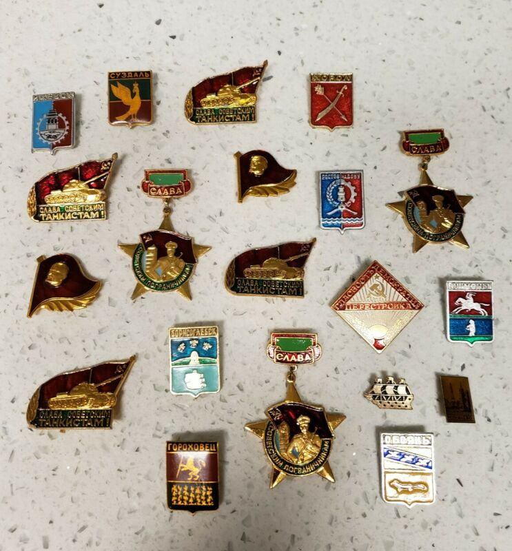 Vintage  80s Soviet Era  Pins . Lot of 20