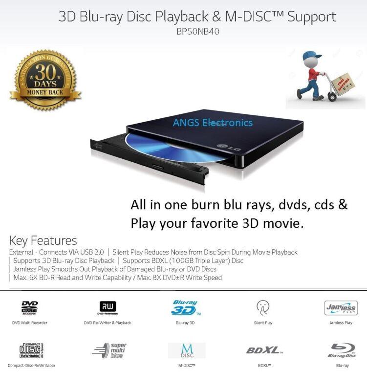 LG 8x External USB 2.0 Blu-ray Disc Double-Layer DVD±RW/CD-RW Disc Rewriter Black BP50NB40