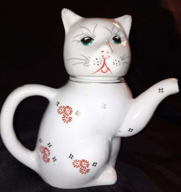 Vintage Lucky Cat Chinese Teapot