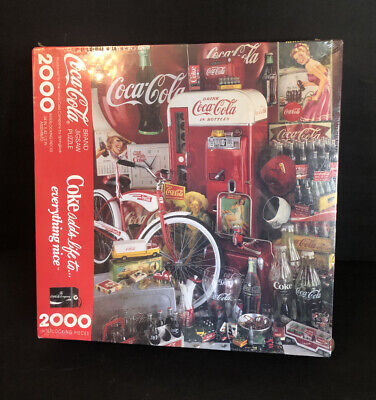 """NEW Vintage 1991 Coca Cola 2000 Pc LARGE 34"""" X 42.5"""" Jigsaw Puzzle Sealed"""
