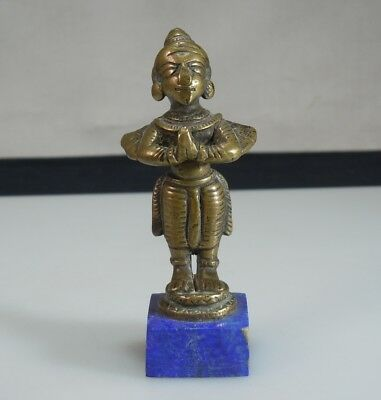 Antique Hindu Indian Brass Deity Figurine on Lapis Lazuli Base 53542