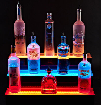 Armana Acrylic New Led Lighted Liquor Bottle Shelf 3 Tier 3 Step 72 Shelve