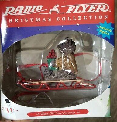 "Radio Flyer Classic Sled 1999 Christmas Tree Ornament Teddy Bear 3.5""x2.5"" NIB"