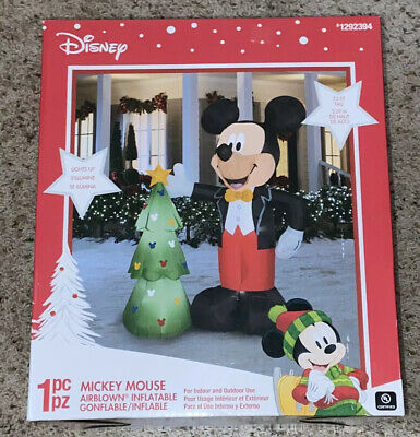 Gemmy 7.5 FT Disney Mickey Mouse/Christmas Tree Lighted Airblown Inflatable, NIB