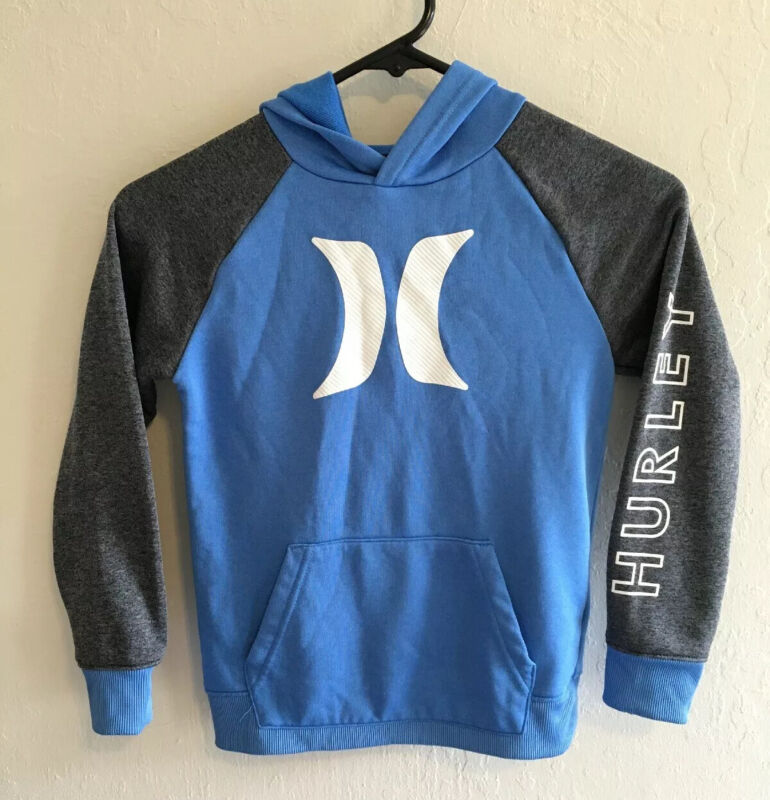 Hurleys Boys pullover sweater size 7 blue grey white NWOT Nike Dry Fit RARE