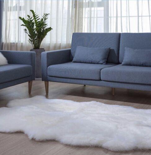 Genuine Real Quad Large Sheepskin Rug White Free Shipping - $169.00