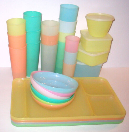 HUGE LOT Tupperware Pastel TUMBLERS / CUPS / BOWLS / DIVIDED PLATES / STORAGE