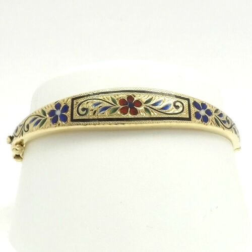 Vintage 14k Gold Floral Enamel Diamond Cut Hinged Bangle Bracelet