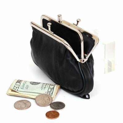 Black Genuine Leather Women Coin Purse Change Holder Kiss Lock -