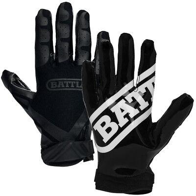 Battle Sports Science Receivers Ultra-Stick Football Gloves - Black/Black