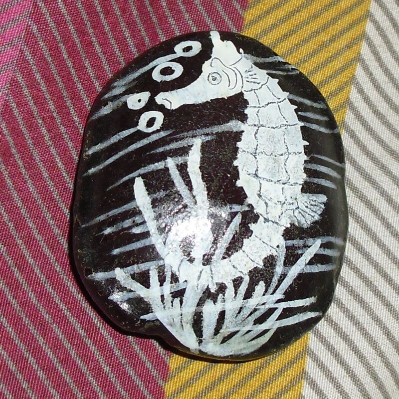 Handpainted Seahorse light Paperweight, Unknown material, 2 inches