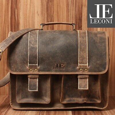 LECONI Aktentasche XL Collegetasche Messenger Bag Büffelleder braun LE3030-N