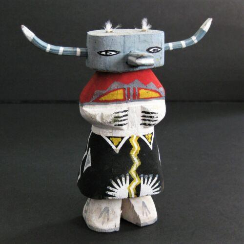 "Vintage Kachina Doll 4.5"" Horns Buffalo Pueblo Totem Route 66"