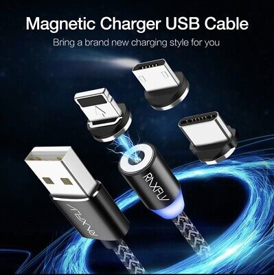 Magnetic Led Light Fast Phone Charging Cable Micro USB Type-