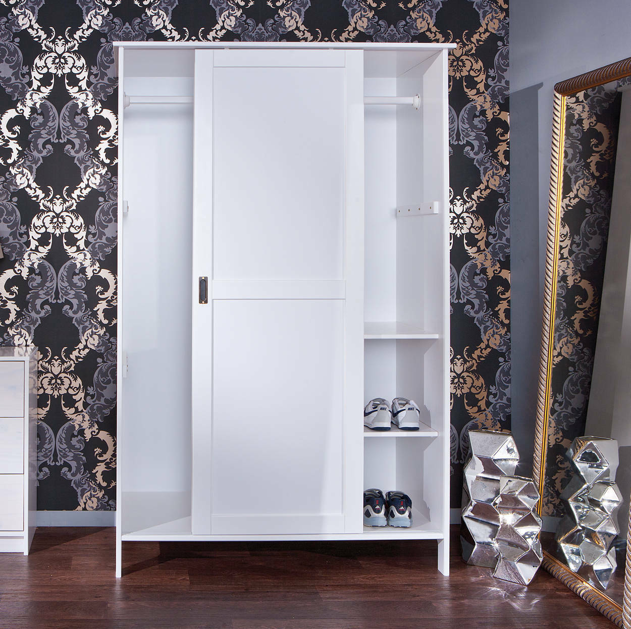 schrank kleiderschrank wandschrank 2 t rig wei massivholz neu eur 276 42 picclick de. Black Bedroom Furniture Sets. Home Design Ideas