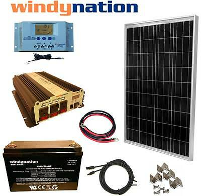 100W 12V Solar Panel Kit + 1500W Inverter + 100ah AGM Battery RV Boat Off Grid