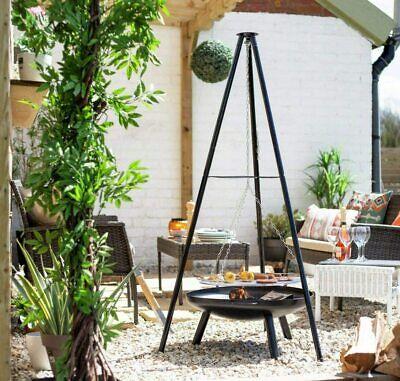 Brand New La Hacienda Tripod Fire Pit & Grill BBQ Outdoor Patio Cooking Garden