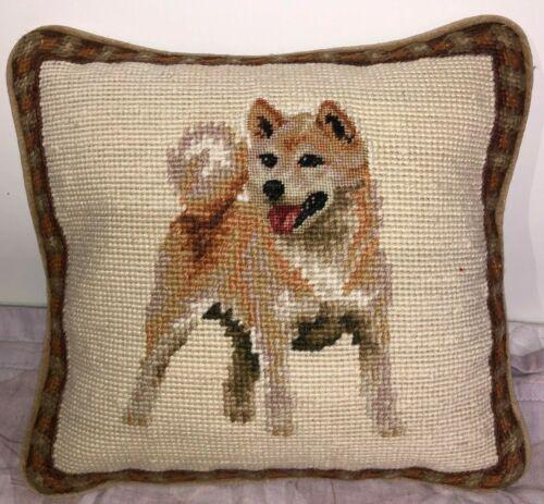 """Brand New Shiba Inu Dog Wool Needlepoint Pillow 10"""" by 10"""""""