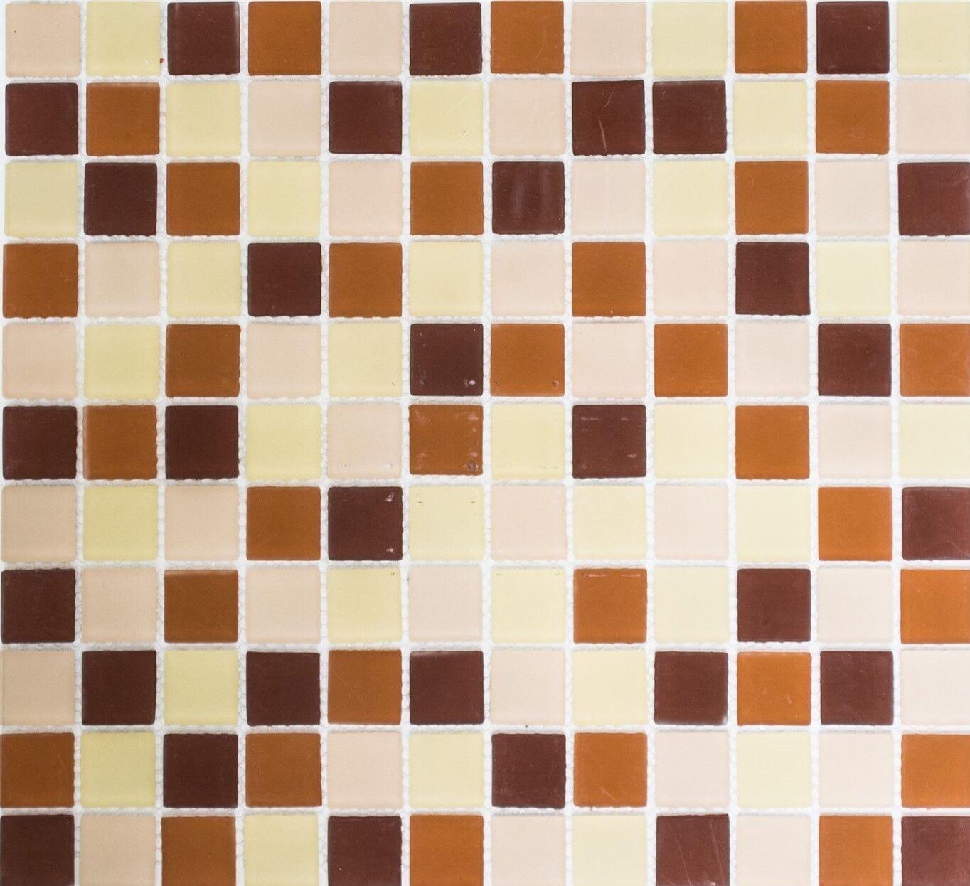 Glasmosaik braun beige matt Fliesenspiegel Küchenrückwand 62-1311_f ...