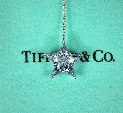 Platinum Tiffany Co Blue Sapphire Round Diamond Star Pendant Chain Necklace 18