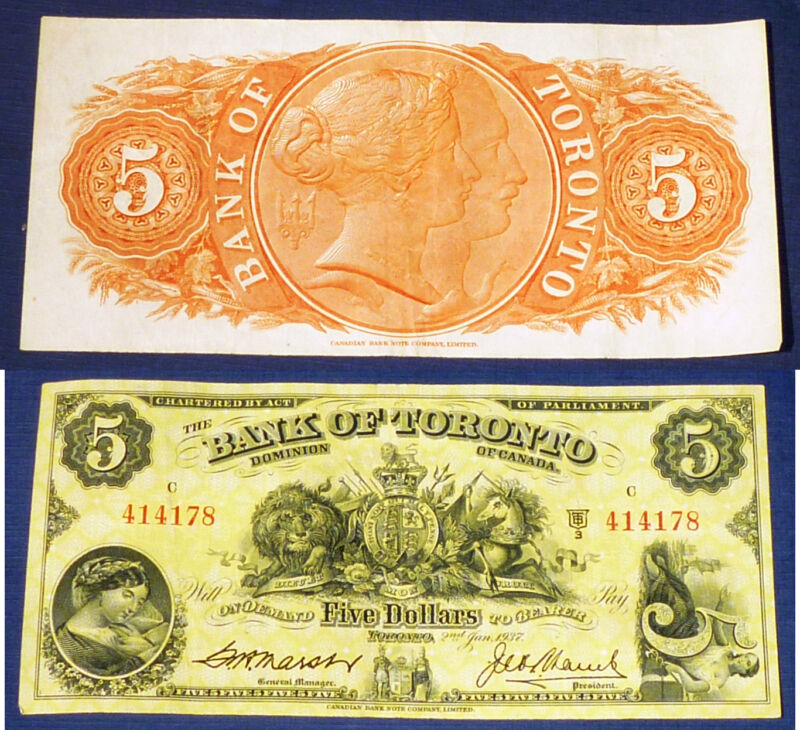 CANADA CHARTERED BANKNOTE -  1937 $5 BANK OF TORONTO - JUST BEAUTIFUL!!