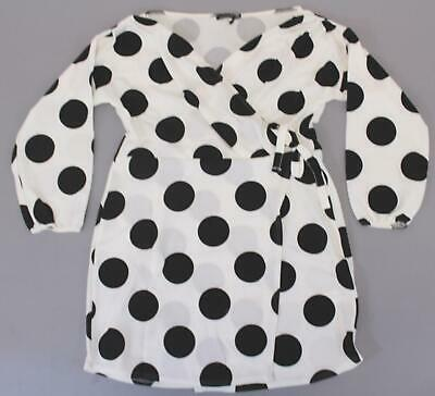 Boohoo Women's Plus Large Spot Off The Shoulder Wrap Dress SD8 White Size US:18