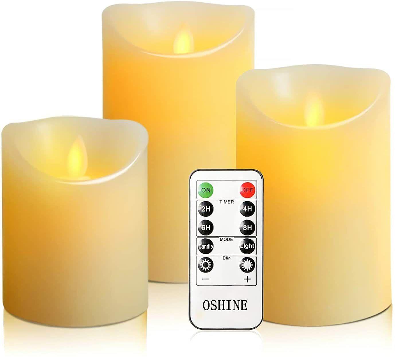 Luminara Flickering LED Candles Moving Flameless Wick Pillar