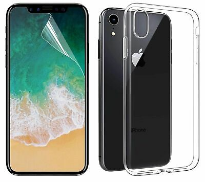 For iPhone XR With Free Screen Protector Case Crystal Clear Silicone Gel Cover Cover Free Screen
