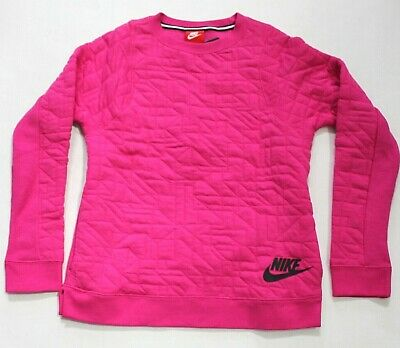 Nike Girls' Long Sleeve Sportswear Quilted Crew Fleece Lined Pullover L -