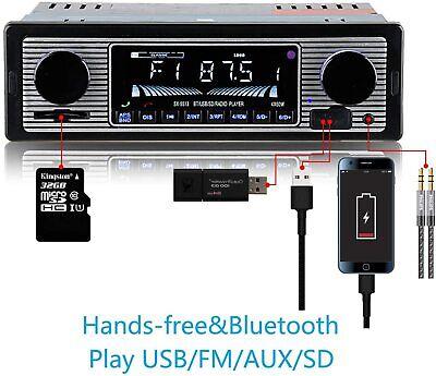 12V FM Car Stereo Radio Bluetooth 1 DIN In Dash Handsfree SD/USB AUX Head Unit Car Audio