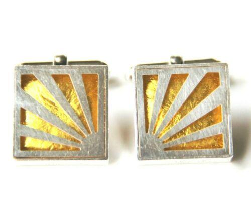 Victoria Varga Rising Sun Cuff Links Sterling Silver 925 & Golden Yellow Resin