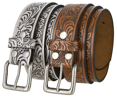 Western Embossed Tooled Genuine Leather Belt with Silver-finish buckle -